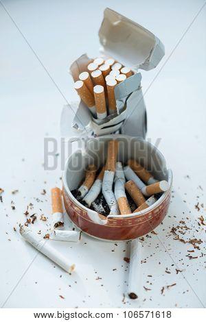 Cigarettes in the ashtray