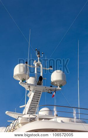 Communication and safety equipment onboard yacht. antenna and radar poster