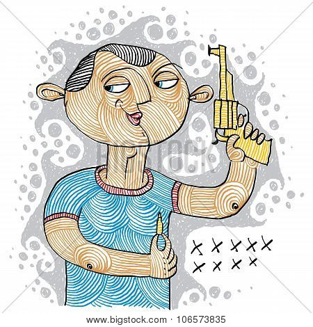 Illustration Of Killer Holding A Gun And Ammunition For It. Conceptual Drawing Of A Shooter