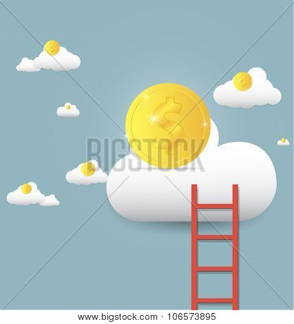vector illustration stairs leading to gold coin on clouds Growth up and success concept