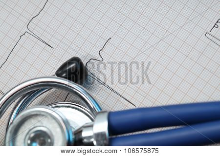 Stethoscope and ECG concept of medical diagnostics poster