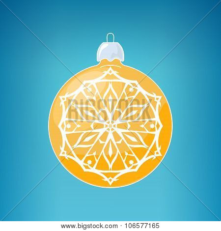 Yellow Ball With Snowflake , Merry Christmas