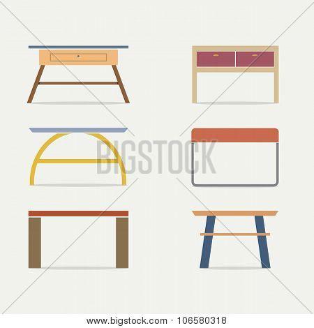 Set Of Modern Console Table Vector Illustration. EPS 10 poster