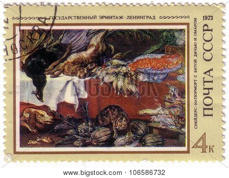 Ussr - Circa 1973: A Stamp Printed In The Ussr Shows A Picture Of Artist Frans Snyders - Still Life