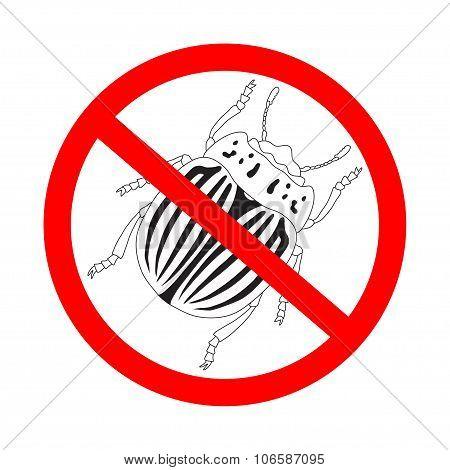 Prohibition Sign  Colorado Potato Beetle. Leptinotarsa Decemlineata. Sketch Of Colorado Potato Beetl
