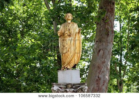 LJUBLJANA, SLOVENIA - JUNE 30: Congress Square gilded Statue of Citizen of Emona unearthed 1836, Ljubljana, Slovenia on June 30, 2015