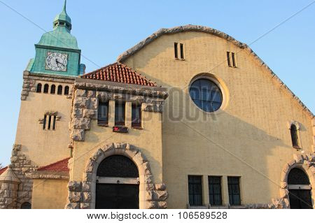 baroque Protestant Church built during the German colonial era in Qingdao, China poster