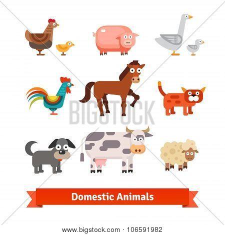 Set of village farm domestic animals
