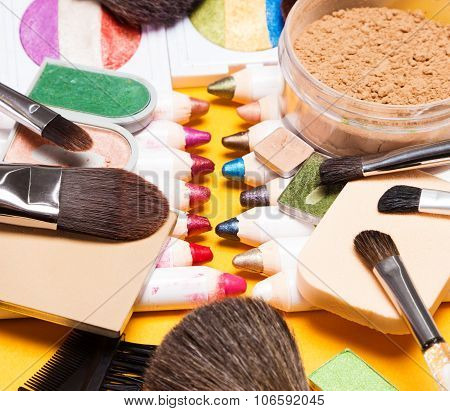 Set Of Different Makeup Products