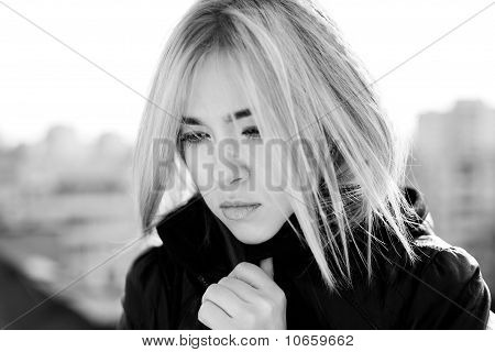 Portrait Of Sad Blonde  Girl
