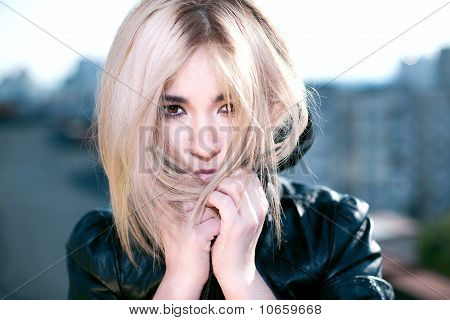 Portrait Of Beautiful Wild Girl In A Leather Jacket