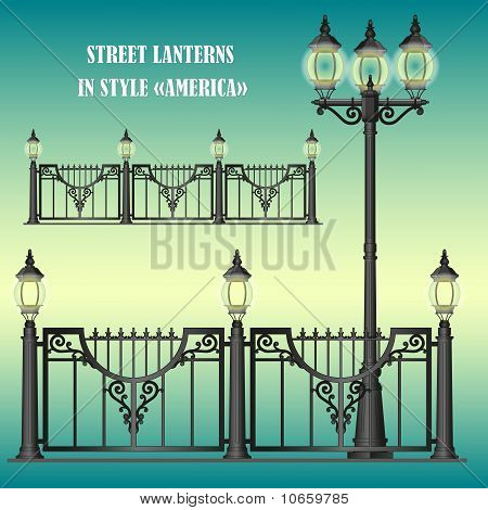 """Vector shod street fence with lanterns in style """"America"""" with openwork convoluted details poster"""