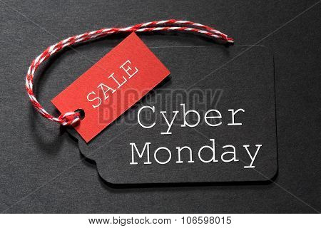 Cyber Monday Sale Text On A Black Tag