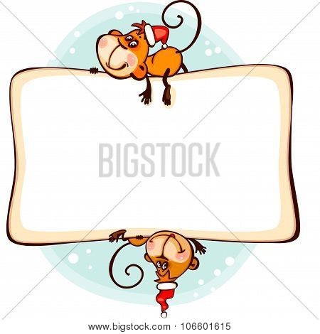 Chinese zodiac new year frame 2016