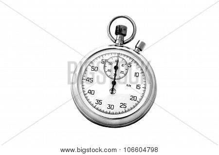 Stopwatch silver with ring on white background