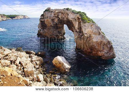 Natural arch in Cala Santanyi. Mallorca