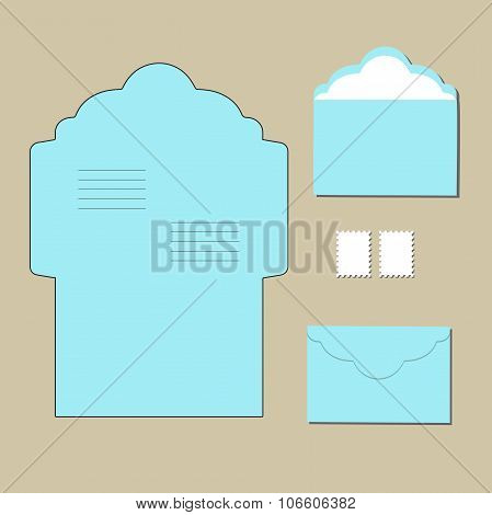 Envelope Templates  On Grey Background. Vector