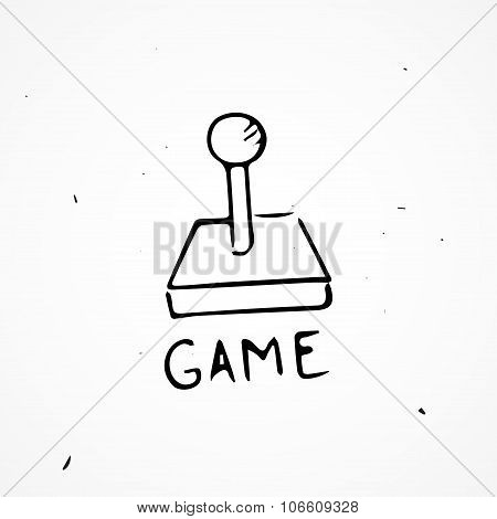 Hand drawn joystick vector isolated doodle object poster
