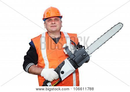 Mature Contractor And Chainsaw