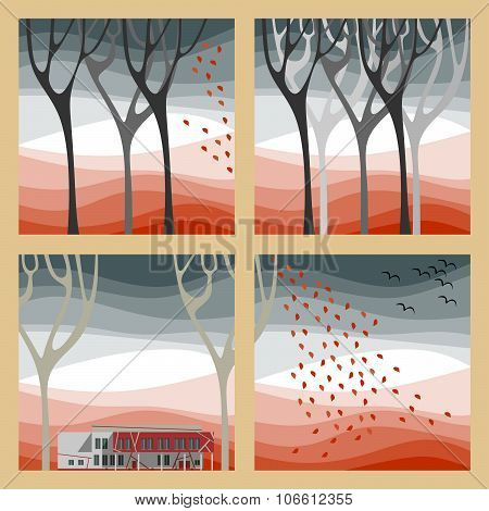 Set Of Four Autumn Illustrations - Autumn Trees, Fall Of The Leaves And Birds Fly To Warmer Climes