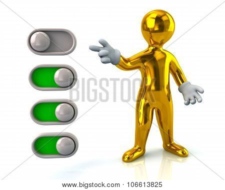 Golden man turning on toggle switches isolated on white background