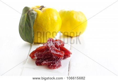 Candied quince marmalade slices coated in sugar poster