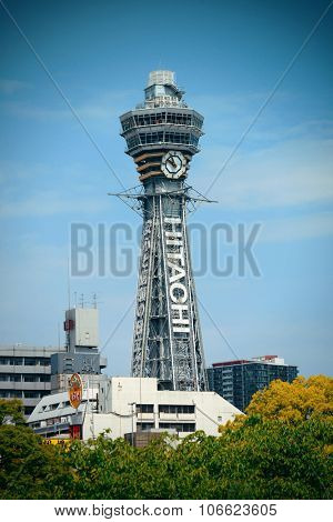 OSAKA, JAPAN - MAY 11: Tsutenkaku clouseup as famous landmark on May 11, 2013 in Osaka. With nearly 19 million inhabitants, Osaka is the second largest metropolitan area in Japan after Tokyo.