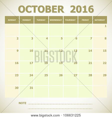 Calendar October 2016 Week Starts Sunday