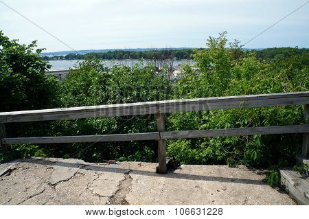 Wooden Railing at the Edge of the Bluff