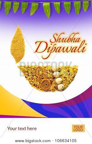 creative diwali diya or diwali greeting created using diwali snacks or diwali food, mango leaf toran