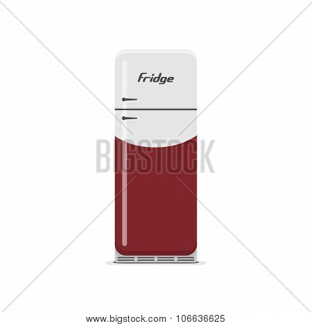 Isolated white and red vintage Fridge