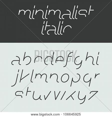 Minimalist italic alphabet lowercase letters. Font design, vector.