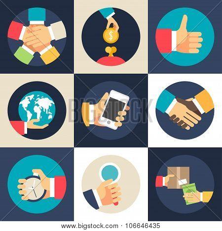 Set Of Flat Design Vector Business Icons. Teamwork, Investment, Global Economics, Partnership, Time