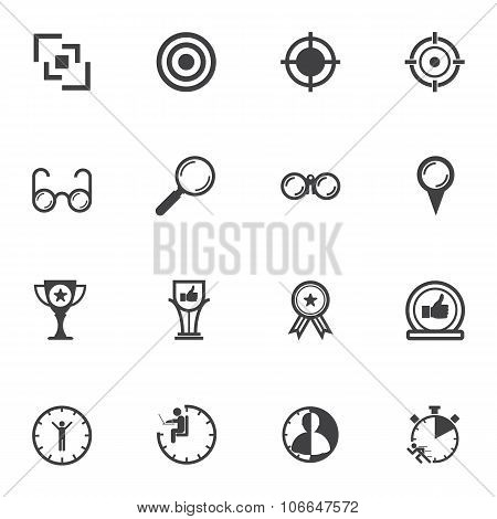 usiness icons set for Leadership concept. Vector