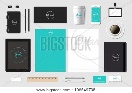 Vector template mockup for brand presentation on grey.