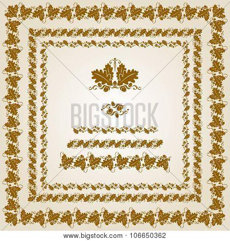 Vintage Design Elements. Golden acorn and oak leaf
