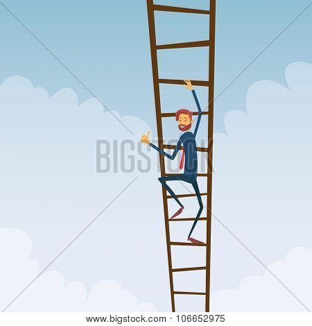 Businessman Climb Up Ladder Stairs, Concept Business Man