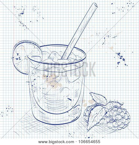 Cocktail Bramble on a notebook page