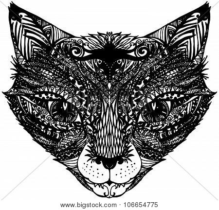 Decorative snout fox. Graphic illustration snout fox. handmade art illustration  snout fox. illustra