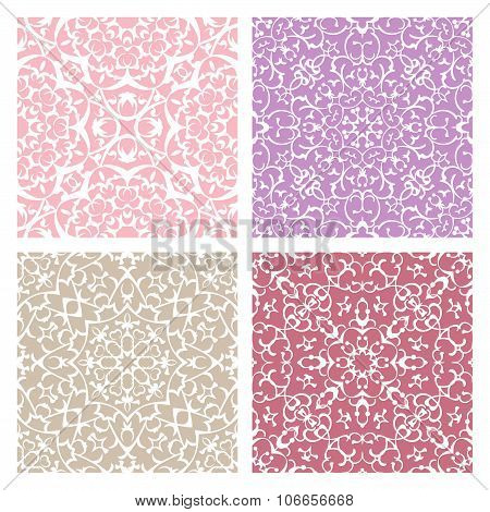 Set Of Four Warm Color Lacy Seamless Eastern Patterns
