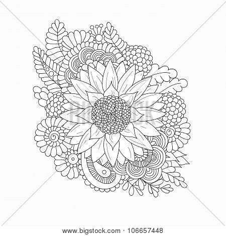 Doodle pattern with black and white sunflower