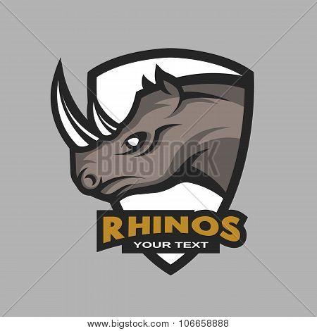 Rhino emblem, logo for a sports team.