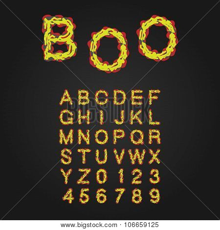 Halloween Style Typeface. Uppercase Letters And Numbers. Latin Alphabet. Rot, Blood, Slime. Vector. poster