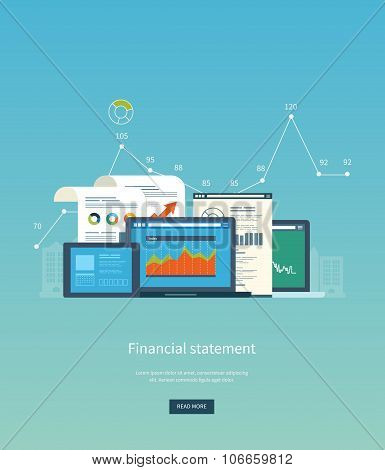 Flat design illustration concepts for business analysis, financial statement, consulting, team work,