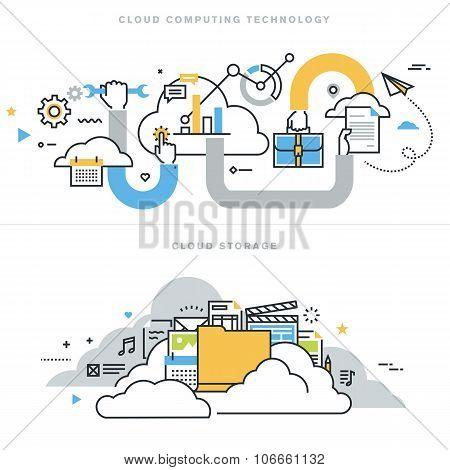 Flat line design vector illustration concepts for cloud computing
