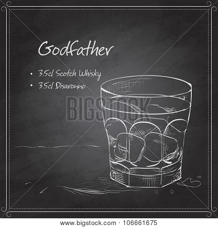 Alcoholic Cocktail Godfather on black board