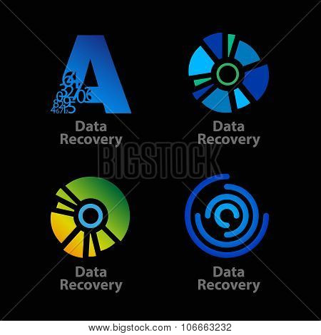Set of isolated blue and green data recovery company logos on black background