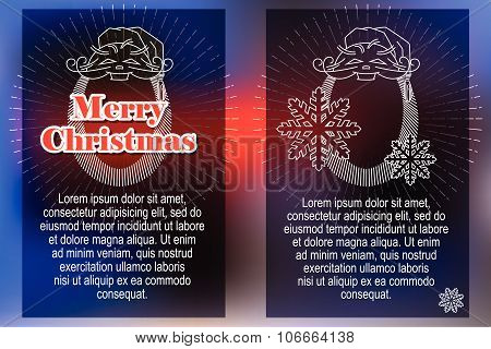 Elegant sun from flat line with symbols of Christmas and New Year.