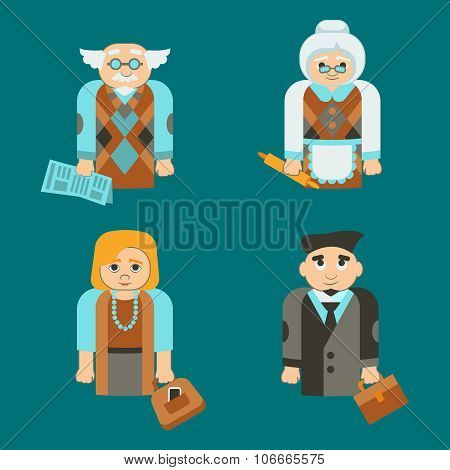 Isolated Family Mother, Father, Grand Mother And Grand Father