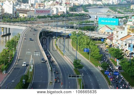 Infrastructure, Overpass, Traffic, Intersection, City